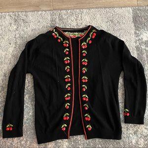 Vintage hand sewn cherry print knit cardigan